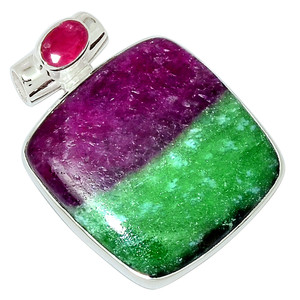 African Ruby With Zosite 925 Sterling Silver Pendant Jewelry 31915P