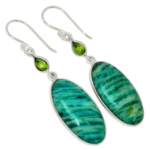 Amazonite & Peridot 925 Sterling Silver Earrings Jewelry 30038E