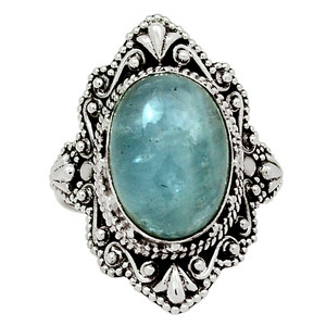Aquamarine - Brazil 925 Sterling Silver Ring Jewelry s.8 30450R