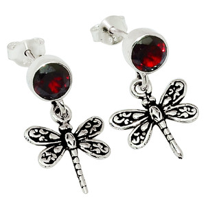 Dragonfly - Garnet - Madagascar 925 Sterling Silver Earrings Jewelry 32016E