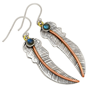 Eagle Feather & Labradorite 925 Sterling Silver Earrings Jewelry 30718E