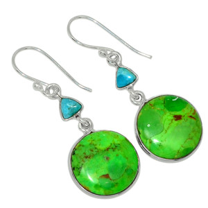 Mohave Green Turquoise - Arizona 925 Sterling Silver Earrings Jewelry 31153E