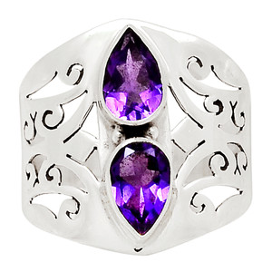 Amethyst - Africa 925 Sterling Silver Ring Jewelry s.9.5 31377R
