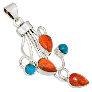 Coral & Sleeping Beauty Turquoise 925 Sterling Silver Pendant Jewelry 29913P