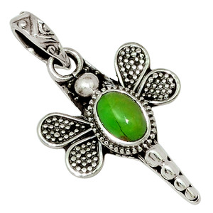 Dragonfly - Mohave Green Turquoise - Arizona 925 Sterling Silver Pendant 30865P