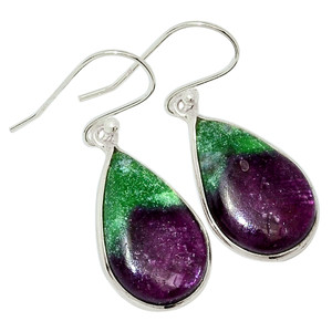 African Ruby With Zosite 925 Sterling Silver Earrings Jewelry 31984E