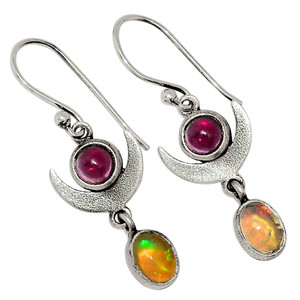 Crescent Moon - Ethiopian Opal & Garnet 925 Silver Earrings Jewelry 32025E
