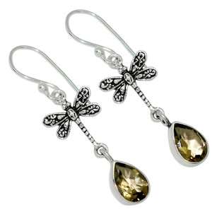 Dragonfly - Smoky Topaz - Brazil 925 Sterling Silver Earrings Jewelry 31201E