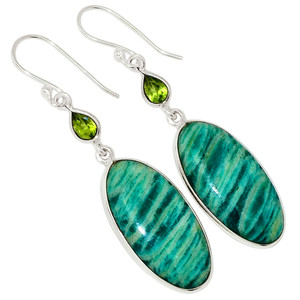 Russian Amazonite & Peridot 925 Sterling Silver Earrings Jewelry 31631E
