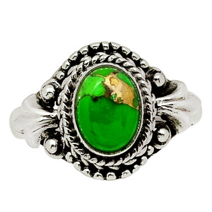 Copper Green Turquoise - Arizona 925 Sterling Silver Ring Jewelry s.7 30832R