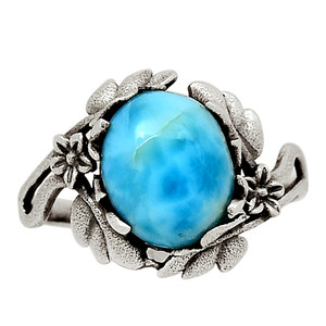 Genuine Larimar - Dominican Republic 925 Sterling Silver Ring Jewelry s.9 31761R