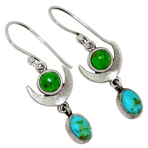 Crescent Moon - Mohave Green Turquoise 925 Silver Earrings Jewelry 30037E