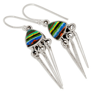 Rainbow Calsilica 925 Sterling Silver Earrings Jewelry 30362E