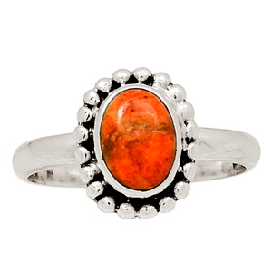 Coral 925 Sterling Silver Ring Jewelry s.7 30788R
