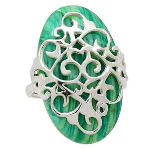 Artisan - Amazonite 925 Sterling Silver Ring Jewelry s.7 30516R