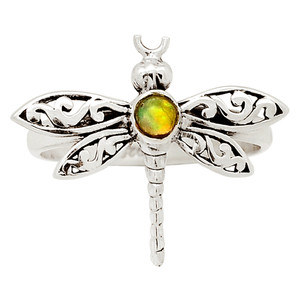 Dragonfly - Ethiopian Opal 925 Sterling Silver Ring Jewelry s.6.5 31374R