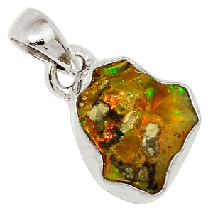 Ethiopian Opal Rough 925 Sterling Silver Pendant Jewelry 29897P