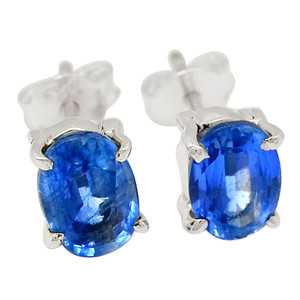 Faceted Kyanite - Indian 925 Sterling Silver Earrings - Stud Jewelry 31549E