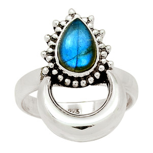 Crescent Moon - Labradorite 925 Sterling Silver Ring Jewelry s.7.5 29789R