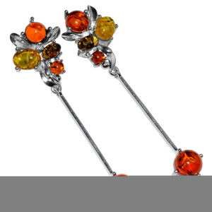 8.2g Authentic Baltic Amber 925 Sterling Silver Earrings Jewelry A8115