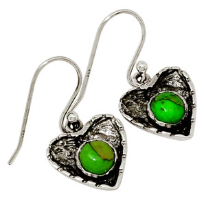 Heart - Mohave Green Turquoise 925 Sterling Silver Earrings Jewelry 29950E