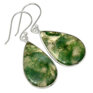 Moss Agate - India 925 Sterling Silver Earrings Jewelry 31074E