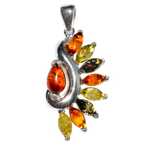 5.15g Authentic Baltic Amber 925 Sterling Silver Pendant Jewelry A1938