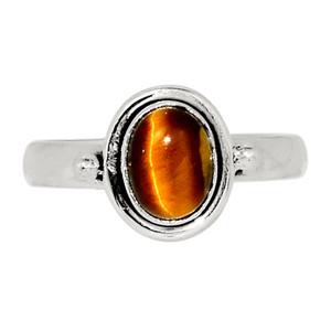 Tiger Eye - South Africa 925 Sterling Silver Ring Jewelry s.8 32384R