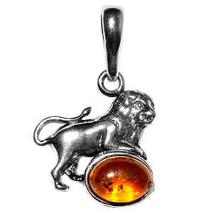 1.79g Leo Authentic Baltic Amber 925 Sterling Silver Pendant Jewelry A1693