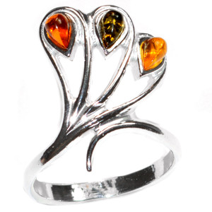 4.6g Authentic Baltic Amber 925 Sterling Silver Ring Jewelry s.6 A7418S6