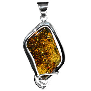 11.55g Authentic Baltic Amber 925 Sterling Silver Pendant Jewelry AH140
