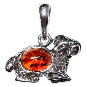 1.62g Aries Authentic Baltic Amber 925 Sterling Silver Pendant Jewelry A1692