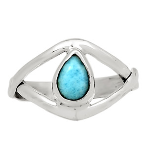 Genuine Larimar - Dominican Republic 925 Sterling Silver Ring Jewelry s.6 32350R