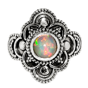 Bali Design - Natural Ethiopian Opal 925 Sterling Silver Ring Jewelry s.6 32337R