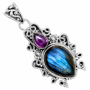 Labradorite - Madagascar & Amethyst 925 Sterling Silver Pendant Jewelry 32403P