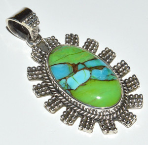 Blue Turquoise In Green Mohave 925 Sterling Silver Pendant Jewelry JB12273