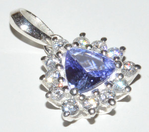 Genuine Tanzanite & Cubic Zirconia 925 Sterling Silver Pendant Jewelry JB12472