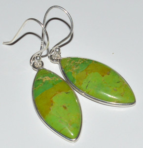 Green Mohave Turquoise 925 Sterling Silver Earrings Jewelry JB12514