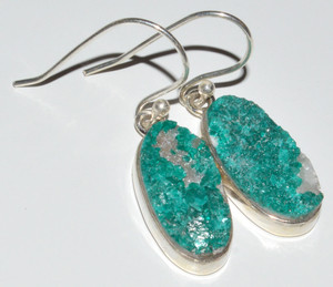 Rare Dioptase Crystal 925 Sterling Silver Earrings Jewelry JB12612
