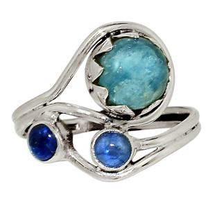 Aquamarine - Brazil & Kyanite 925 Sterling Silver Ring Jewelry s.8 32567R