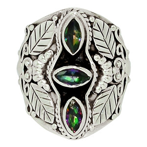 Rainbow Topaz 925 Sterling Silver Ring Jewelry s.6 32638R