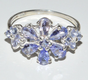 Natural Tanzanite Cluster 925 Sterling Silver Rings Jewelry s.6.5  JB13340