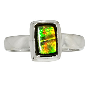 Canadian Ammolite 925 Sterling Silver Ring Jewelry s.7 32512R