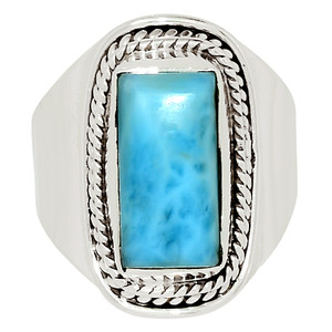 Genuine Larimar - Dominican Republic 925 Sterling Silver Ring Jewelry s.8 32505R
