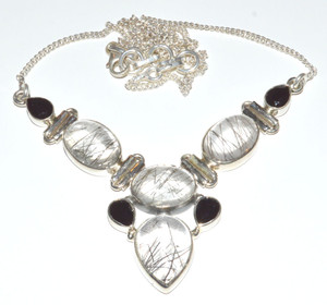 18.5g Black Rutile, Black Onyx 925 Sterling Silver Necklace Jewelry
