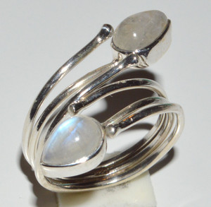 Rainbow Moonstone 925 Sterling Silver Rings Jewelry s.6.5  JB12841