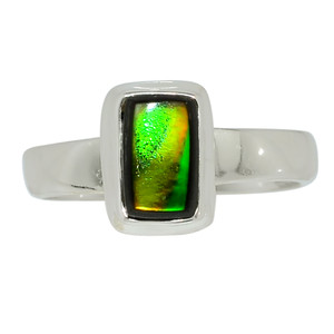 Canadian Ammolite 925 Sterling Silver Ring Jewelry s.7 32514R