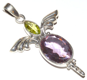 Colorchange Alexandrite (two colors) 925 Sterling Silver Pendant Jewelry JB12454