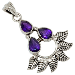 Amethyst - Africa 925 Sterling Silver Pendant Jewelry 32715P