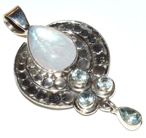 Rainbow Moonstone & Blue Topaz 925 Sterling Silver Pendant Jewelry JB12200